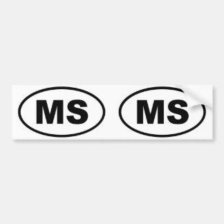 Mississippi MS oval Bumper Sticker