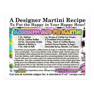 Mississippi Mud Pie Ice Cream Martini Recipe Card
