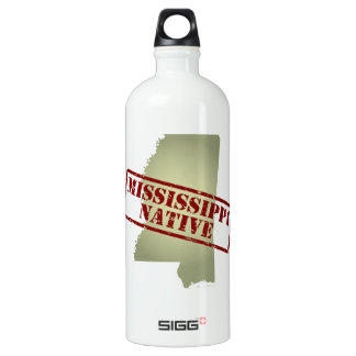 Mississippi Native Stamped on Map Aluminum Water Bottle