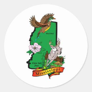 Mississippi Pegatina Redonda