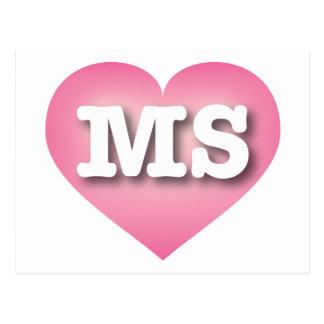 Mississippi Pink Fade Heart - Big Love Postcard