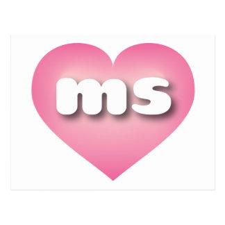 Mississippi pink fade heart - mini love postcard