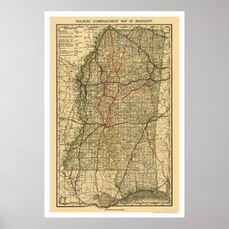 Mississippi Railroad Map 1888 Poster
