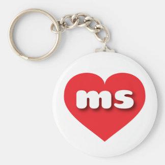 Mississippi red heart - mini love keychain