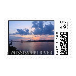 Mississippi River - Beyond Sunset - Natchez, MS Postage Stamps