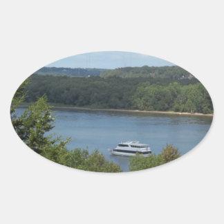 Mississippi River Boat Oval Sticker