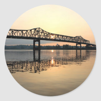 Mississippi River Bridge Classic Round Sticker