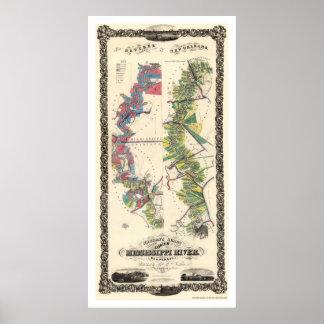 Mississippi River Map 1858 Poster
