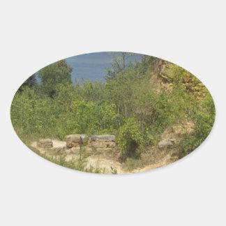 Mississippi River overlook Oval Sticker