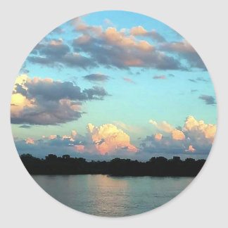 Mississippi River Sunset Classic Round Sticker