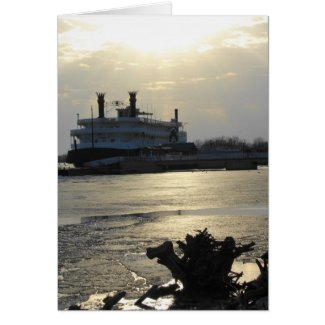 Mississippi River Sunset in Winter card