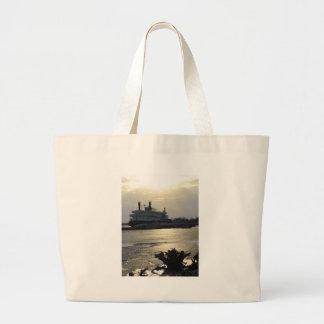 Mississippi River Sunset in Winter Large Tote Bag