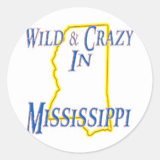 Mississippi - salvaje y loco pegatina