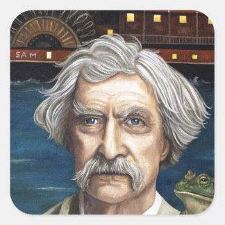 Mississippi Sam Aka Mark Twain Pegatina Cuadrada