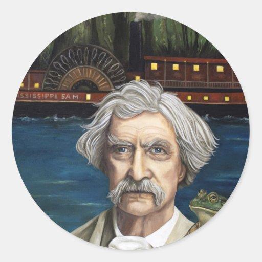 Mississippi Sam Aka Mark Twain Pegatina Redonda