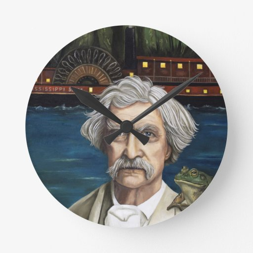 Mississippi Sam Aka Mark Twain Round Wall Clocks