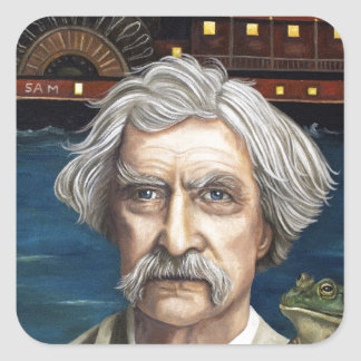 Mississippi Sam Aka Mark Twain Square Sticker