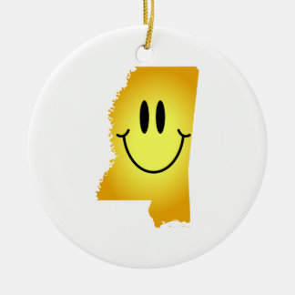 Mississippi Smiley Face Double-Sided Ceramic Round Christmas Ornament