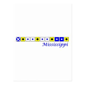 Mississippi spelled in nautical flag alphabet postcard