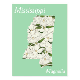 Mississippi State Flower Collage Map Postcard