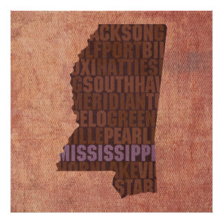 Mississippi State Outline Word Map on Canvas Poster