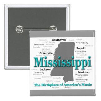 Mississippi State Pride Map Silhouette Pinback Button