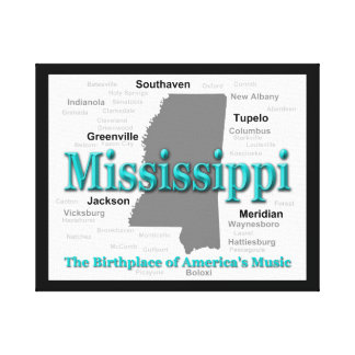 Mississippi State Pride Map Silhouette Canvas Print