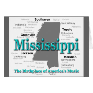 Mississippi State Pride Map Silhouette Greeting Card
