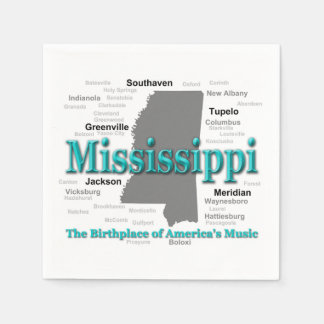 Mississippi State Pride Map Silhouette Paper Napkin