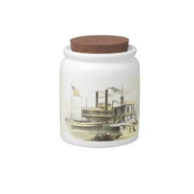 Mississippi Steamboat City of Memphis, 1860 Candy Jars at Zazzle