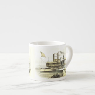 Mississippi Steamboat City of Memphis, 1860 Espresso Cup