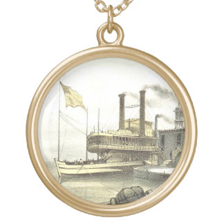 Mississippi Steamboat City of Memphis, 1860 Gold Plated Necklace