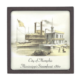 Mississippi Steamboat City of Memphis, 1860 Keepsake Box