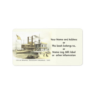 Mississippi Steamboat City Of Memphis, 1860 Label at Zazzle