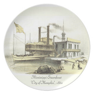 Mississippi Steamboat City Of Memphis, 1860 Melamine Plate at Zazzle