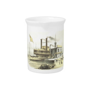 Mississippi Steamboat City Of Memphis, 1860 Pitcher at Zazzle