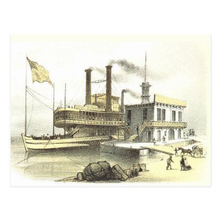 Mississippi Steamboat City Of Memphis, 1860 Postcard