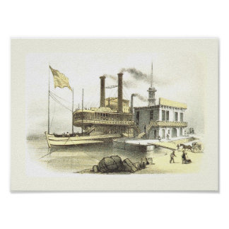 Mississippi Steamboat City of Memphis 1860 Poster