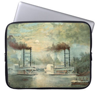 Mississippi Steamboat Race 1859 Computer Sleeve