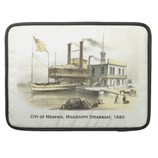 Mississippi Steamboat The City of Memphis, 1860 Sleeves For MacBook Pro