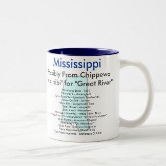 Mississippi Symbols & Map Two-Tone Coffee Mug