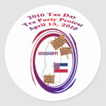 Mississippi Tax Day Tea Party Protest Round Sticker