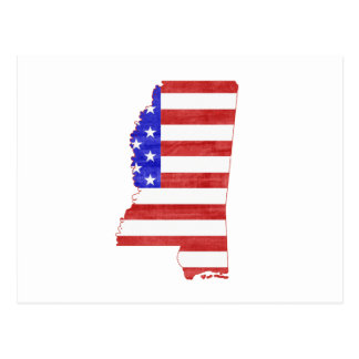 Mississippi USA flag silhouette state map Postcard