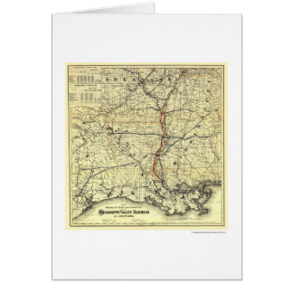 Mississippi Valley Railroad Map 1882 Card