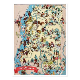 Mississippi Vintage Map Postcard