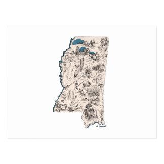 Mississippi Vintage Picture Map Postcard