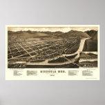 Missoula, mapa panorámico de la TA - 1884 Poster
