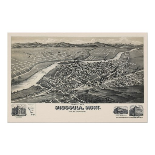 Missoula, mapa panorámico de la TA - 1891 Impresiones