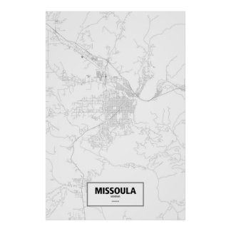 Missoula, Montana (negro en blanco) Póster
