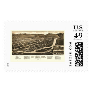 Missoula, MT Panoramic Map - 1884 Postage Stamps
